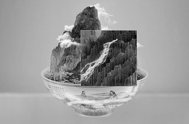 """家杨泳梁的摄影拼贴画一直非常出名,他用现代的建筑物和城市来"""""""