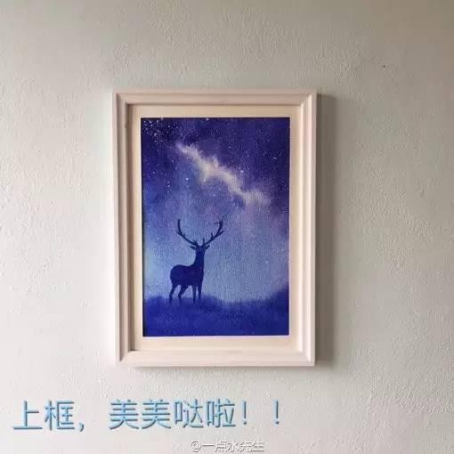 一幅星空与鹿的水彩画绘画教程